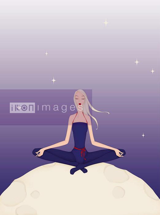 Beautiful woman practicing yoga on moon - Beautiful woman practicing yoga on moon - Wai