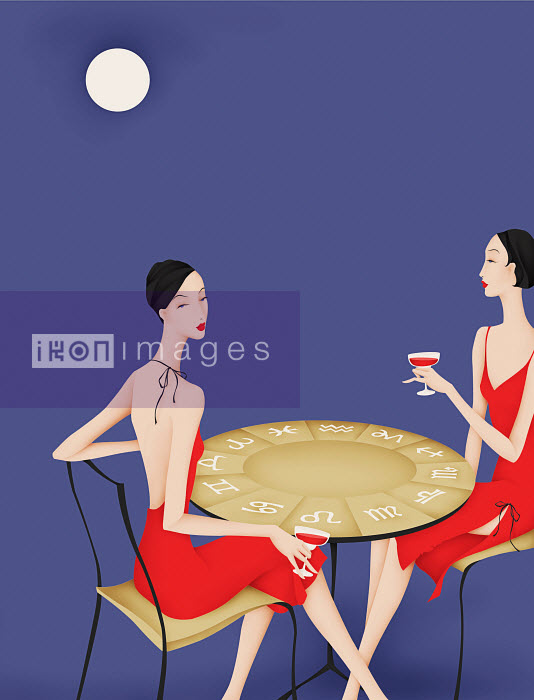 Elegant twin women  drinking wine at table with astrology signs - Elegant twin women  drinking wine at table with astrology signs - Wai
