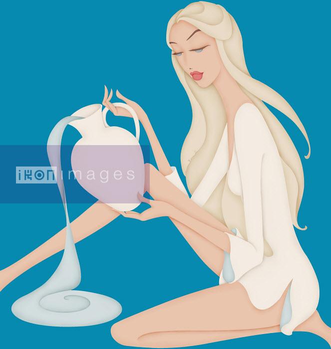 Beautiful woman pouring water posing as astrology sign Aquarius - Beautiful woman pouring water posing as astrology sign Aquarius - Wai