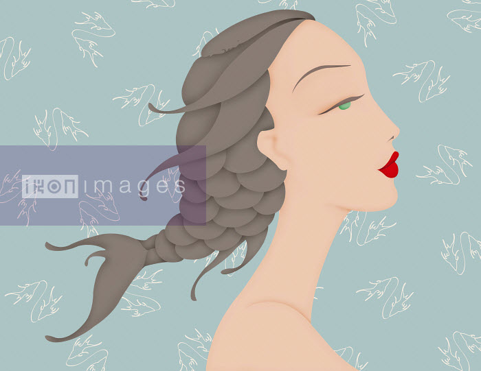 Beautiful woman with fish braid in hair and Pisces astrology sign pattern wallpaper - Beautiful woman with fish braid in hair and Pisces astrology sign pattern wallpaper - Wai