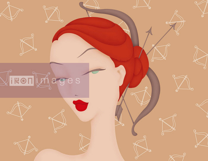 Beautiful woman with bow and arrow in hair and Sagittarius astrology sign pattern wallpaper - Beautiful woman with bow and arrow in hair and Sagittarius astrology sign pattern wallpaper - Wai