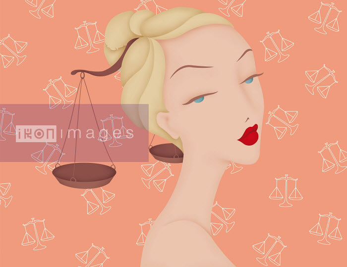 Beautiful woman with scales in hair and Libra astrology sign pattern wallpaper - Beautiful woman with scales in hair and Libra astrology sign pattern wallpaper - Wai