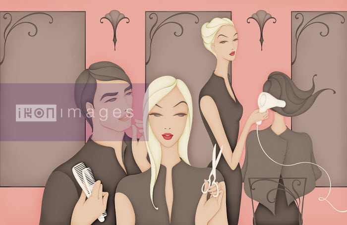 Hairdressers gossiping while colleague is excluded - Hairdressers gossiping while colleague is excluded - Wai