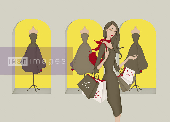 Elegant woman with shopping bags in front of cocktail dresses in shop window - Elegant woman with shopping bags in front of cocktail dresses in shop window - Wai