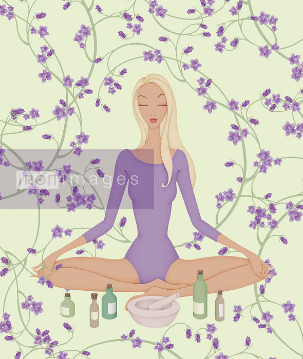 Woman sitting in lotus position with flowers and essential oils - Woman sitting in lotus position with flowers and essential oils - Wai