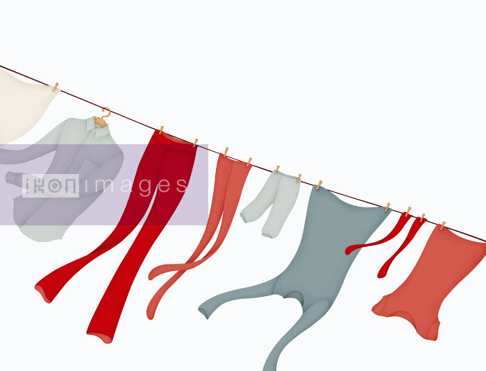 Clothing drying on clothesline blowing in wind - Clothing drying on clothesline blowing in wind - Wai