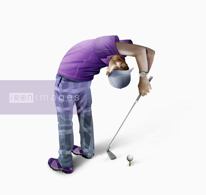 Golfer bending over backwards teeing off - Golfer bending over backwards teeing off - Derek Bacon