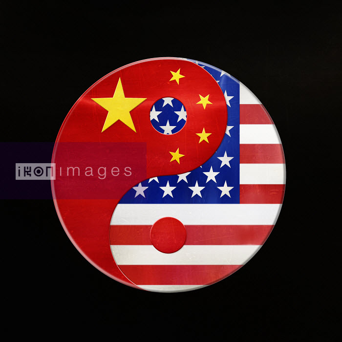 American and Chinese flags in yin and yang symbol - American and Chinese flags in yin and yang symbol - Derek Bacon