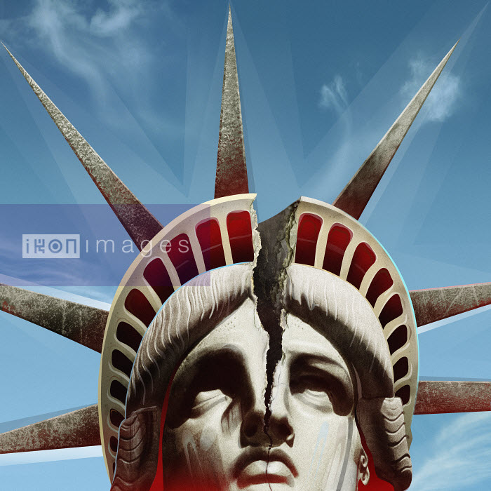 Close up of head of Statue of Liberty cracking - Close up of head of Statue of Liberty cracking - Derek Bacon