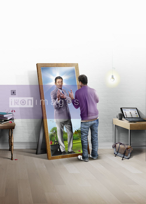 Young man seeing his future as businessman in mirror - Young man seeing his future as businessman in mirror - Derek Bacon