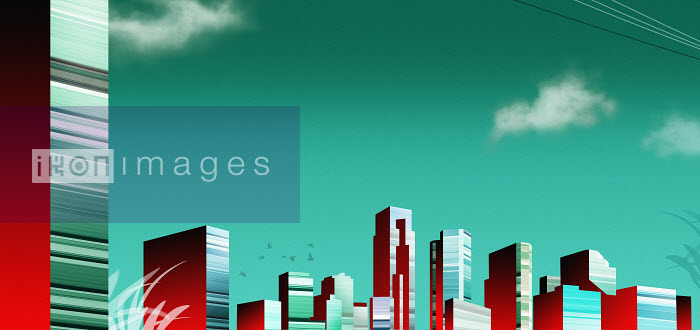 Modern green and red highrise city architecture - Modern green and red highrise city architecture - Derek Bacon