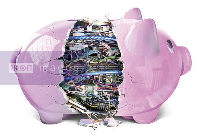 Broken piggy bank revealing complex electronics - Broken piggy bank revealing complex electronics - Derek Bacon