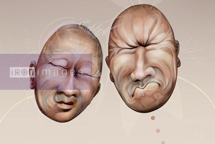 Two bald grimacing faces - Two bald grimacing faces - Derek Bacon