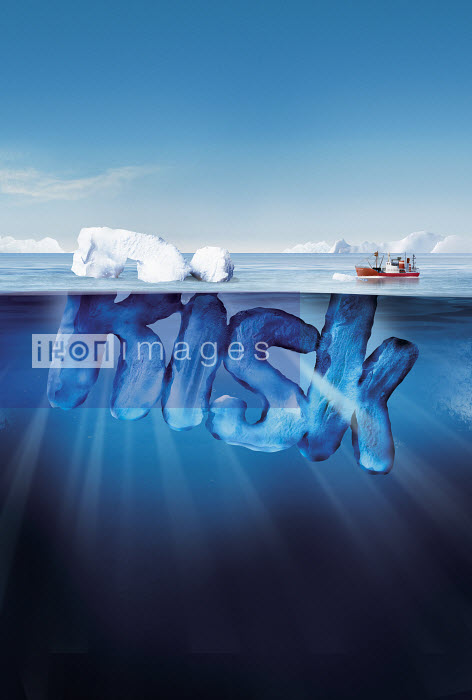 Boat approaching dangerous risk iceberg - Boat approaching dangerous risk iceberg - Derek Bacon