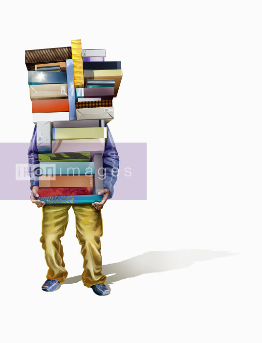 Man carrying large pile of boxes - Man carrying large pile of boxes - Derek Bacon