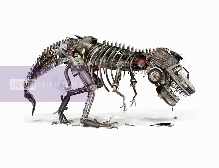 Oil drooling from dying automotive industry robot dinosaur - Oil drooling from dying automotive industry robot dinosaur - Derek Bacon