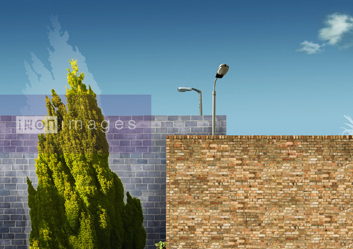 Barrier of two brick walls with street lamps - Barrier of two brick walls with street lamps - Derek Bacon