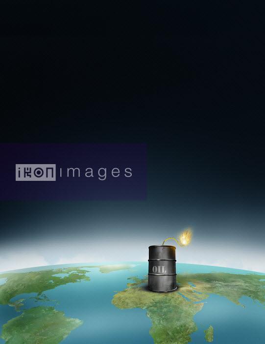 Burning fuse on Middle East oil barrel - Burning fuse on Middle East oil barrel - Derek Bacon