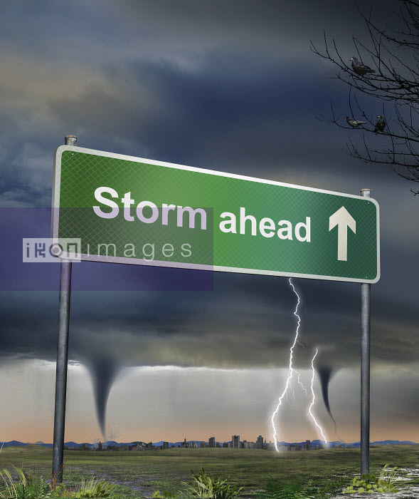 Road sign warning of storm ahead - Road sign warning of storm ahead - Derek Bacon