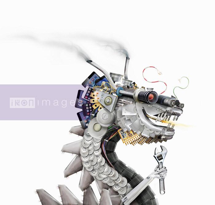 Chinese dragon made from machine parts, smart phones and circuit boards - Chinese dragon made from machine parts, smart phones and circuit boards - Derek Bacon