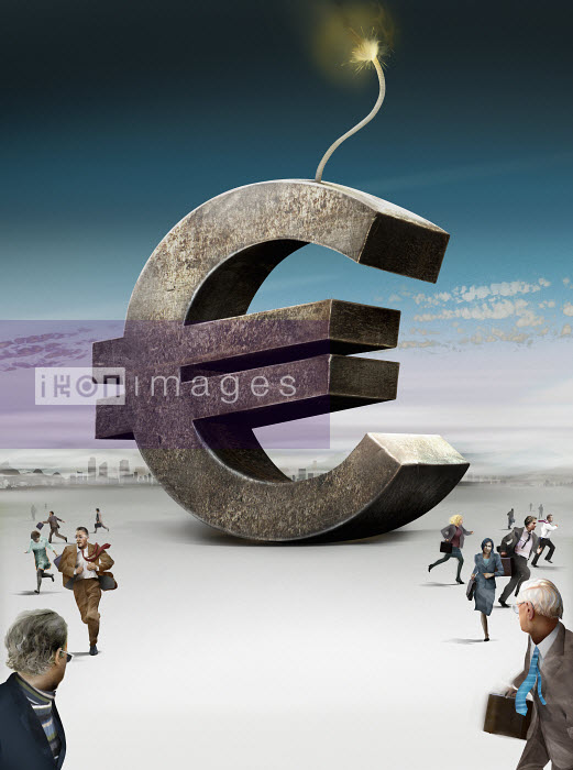 Business people running away from large euro sign bomb - Business people running away from large euro sign bomb - Derek Bacon