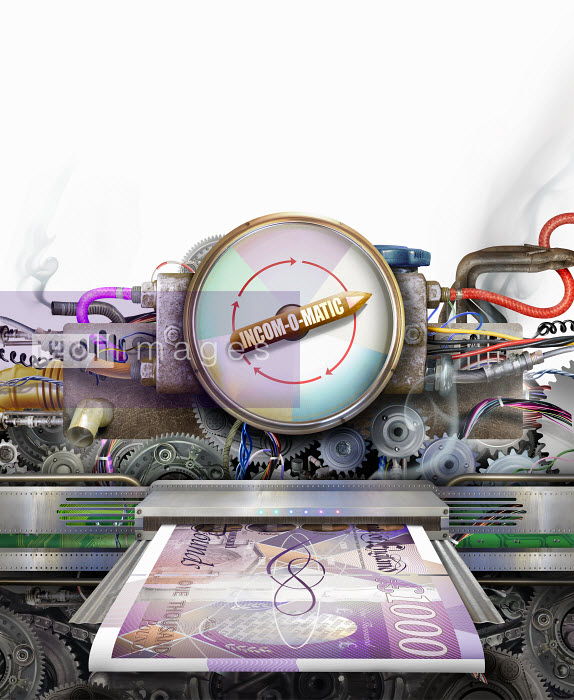 Money making machine printing one thousand pound notes - Money making machine printing one thousand pound notes - Derek Bacon