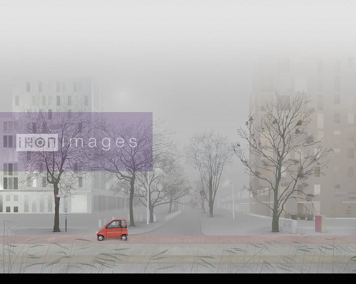 Man driving small car in empty foggy city street - Derek Bacon