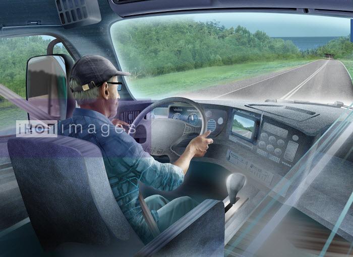 Lorry driver with sat nav on open road - Derek Bacon
