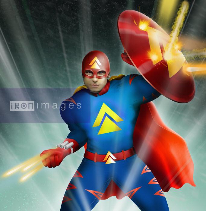 Science fiction superhero in fight with laser guns - Derek Bacon