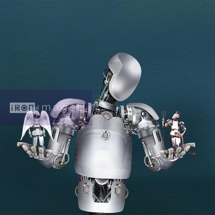 Robot weighing up good and evil robots - Derek Bacon