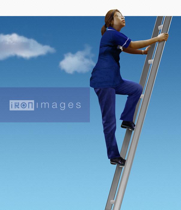 Nurse looking up climbing ladder in sky - Derek Bacon
