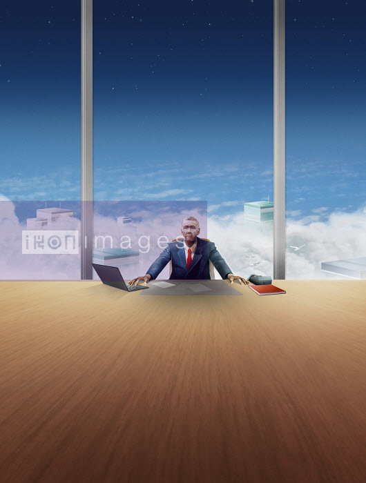 Lonely Chief Executive Officer at desk in high building - Derek Bacon