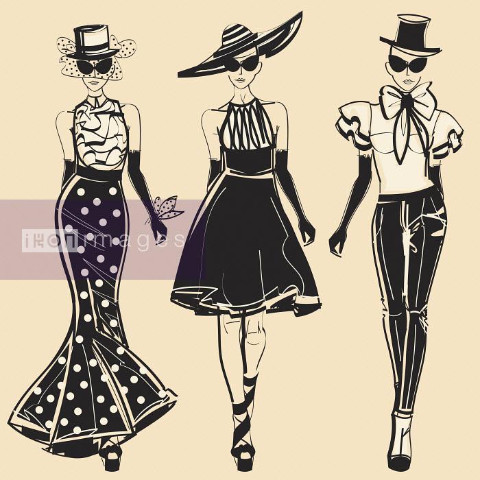 Three fashion models wearing elegant clothing - Three fashion models wearing elegant clothing - Yordanka Poleganova