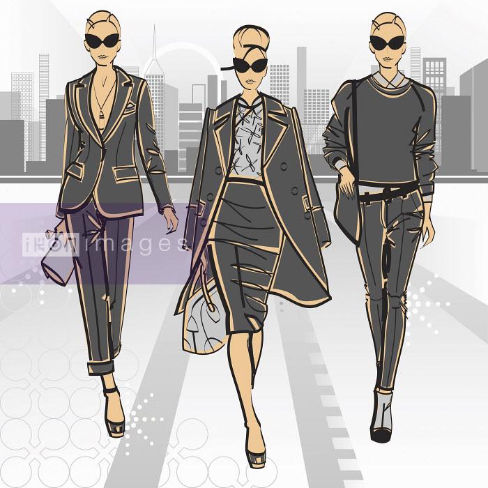 Three elegant fashion model businesswomen side by side approaching camera - Three elegant fashion model businesswomen side by side approaching camera - Yordanka Poleganova