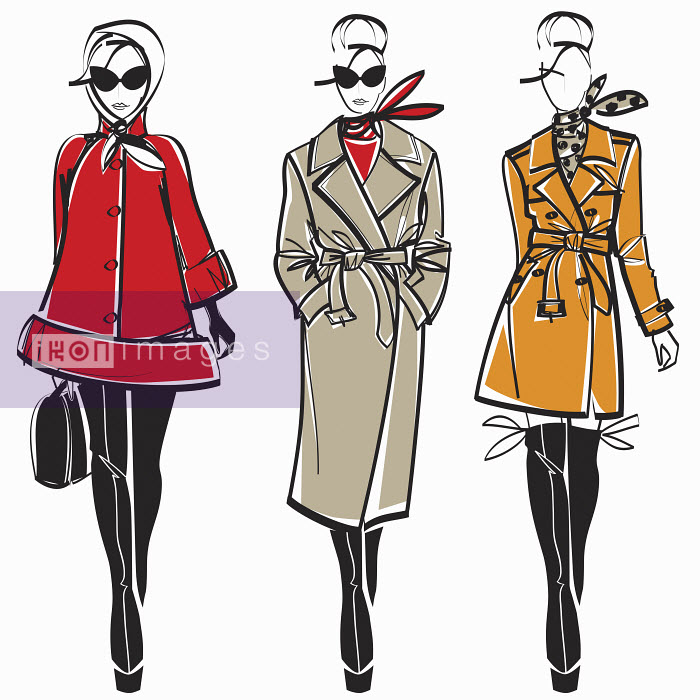 Three elegant fashion models side by side approaching camera wearing coats - Three elegant fashion models side by side approaching camera wearing coats - Yordanka Poleganova