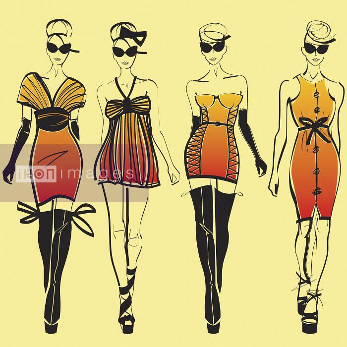 Four elegant fashion models side by side approaching camera wearing orange - Four elegant fashion models side by side approaching camera wearing orange - Yordanka Poleganova