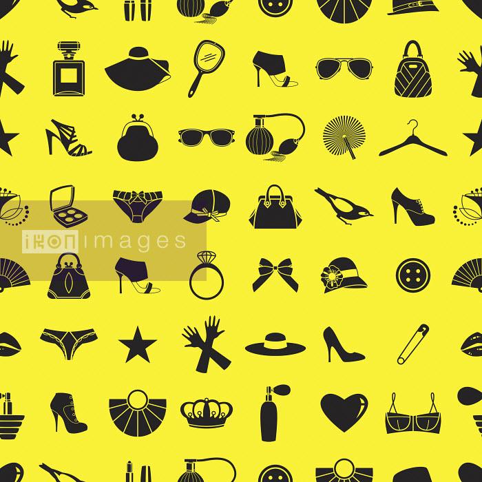 Pattern of black feminine clothing accessories on yellow background - Pattern of black feminine clothing accessories on yellow background - Yordanka Poleganova