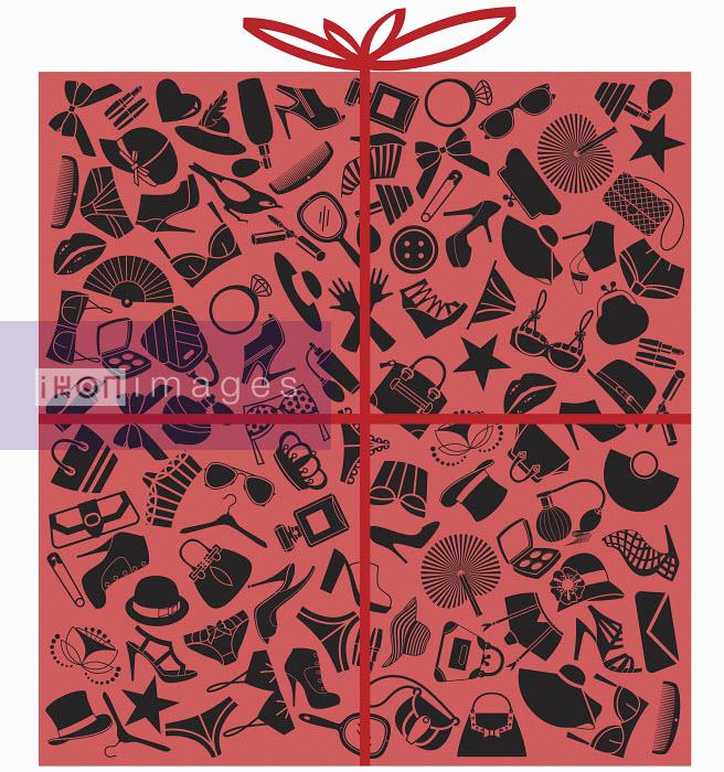 Pattern of black feminine clothing accessories on pink gift wrapping paper - Pattern of black feminine clothing accessories on pink gift wrapping paper - Yordanka Poleganova
