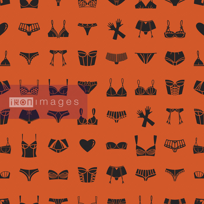 Pattern of different bras, panties and gloves on orange background - Pattern of different bras, panties and gloves on orange background - Yordanka Poleganova