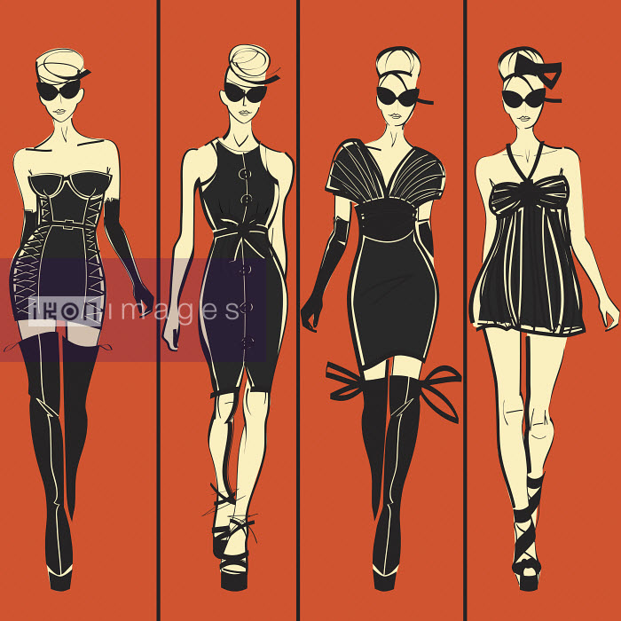 Four elegant fashion models side by side approaching camera wearing black dresses - Four elegant fashion models side by side approaching camera wearing black dresses - Yordanka Poleganova