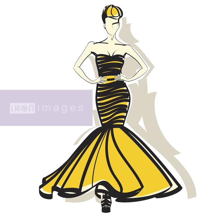 Elegant woman wearing yellow and black evening gown - Elegant woman wearing yellow and black evening gown - Yordanka Poleganova