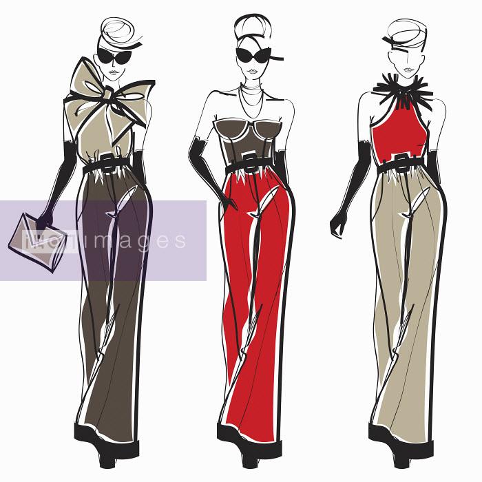 Three elegant fashion models side by side approaching camera wearing pants - Three elegant fashion models side by side approaching camera wearing pants - Yordanka Poleganova