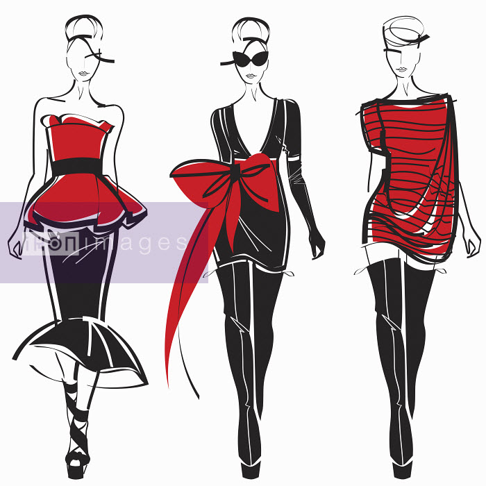 Three elegant fashion models side by side approaching camera wearing black and red - Three elegant fashion models side by side approaching camera wearing black and red - Yordanka Poleganova