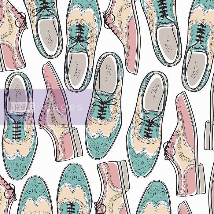 Pattern of pastel colored brogue shoes - Pattern of pastel colored brogue shoes - Yordanka Poleganova