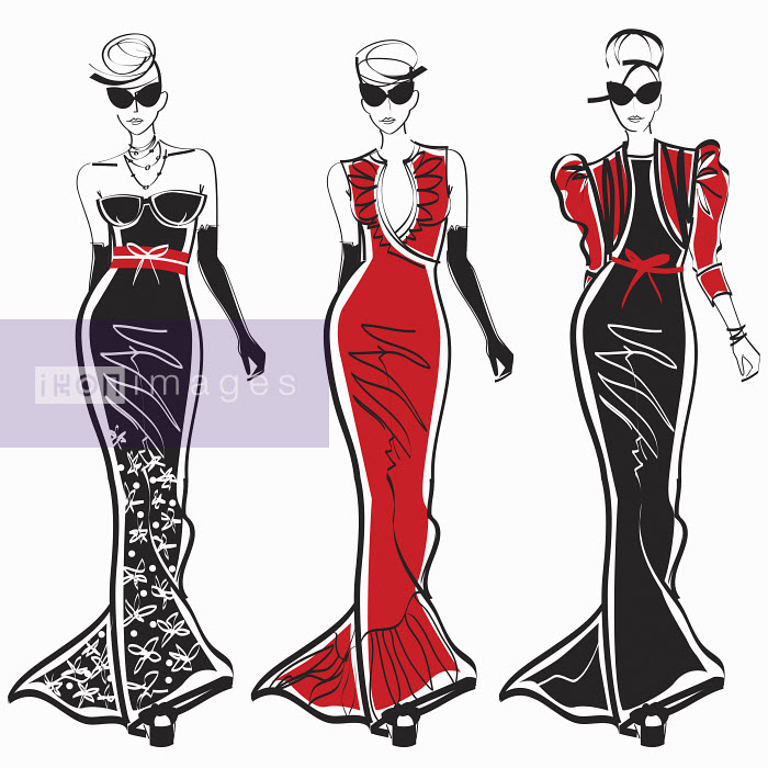 Three elegant fashion models side by side approaching camera wearing evening gowns - Three elegant fashion models side by side approaching camera wearing evening gowns - Yordanka Poleganova
