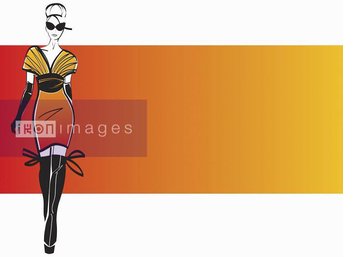 Glamorous woman wearing orange dress and thigh boots - Glamorous woman wearing orange dress and thigh boots - Yordanka Poleganova