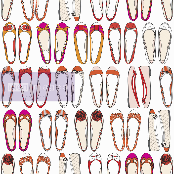 Rows of different ballet pump shoes - Rows of different ballet pump shoes - Yordanka Poleganova
