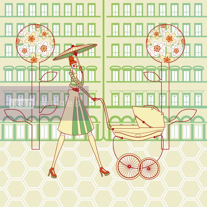 Elegant woman pushing pram through city street - Elegant woman pushing pram through city street - Yordanka Poleganova