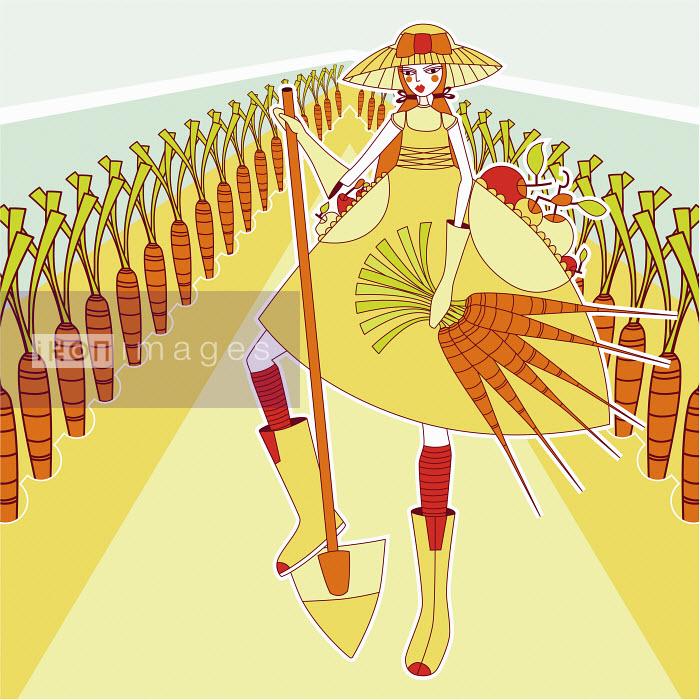 Young woman gardening and harvesting carrots - Young woman gardening and harvesting carrots - Yordanka Poleganova