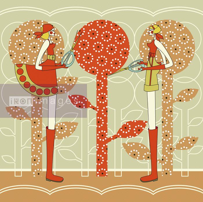 Two women clipping trees in garden - Two women clipping trees in garden - Yordanka Poleganova